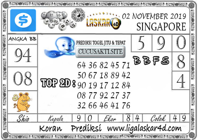Prediksi Togel SINGAPORE LASKAR4D 02 NOVEMBER 2019