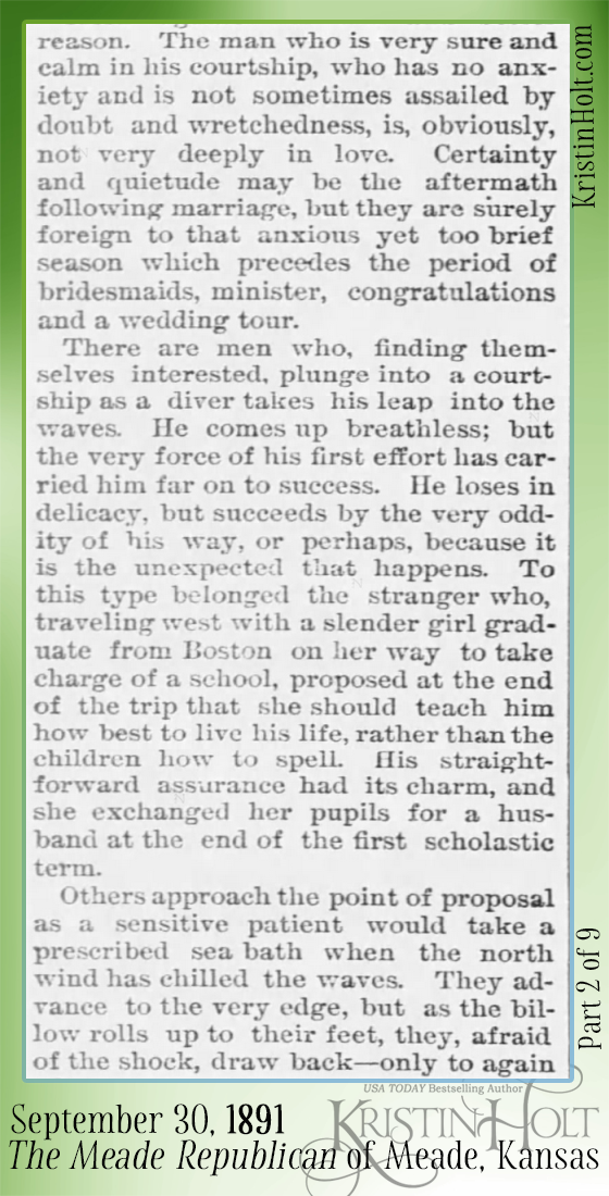 Kristin Holt | Courtship. A Glimpse Into a Paradise Where All is Sunshine and Love. Published in The Meade Republican of Meade, Kansas on September 30, 1891. Part 2.
