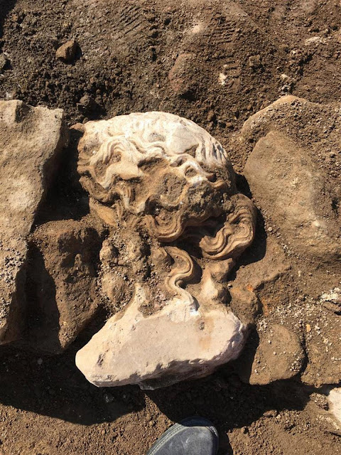 Ancient marble head of Dionysus discovered near Roman Forum