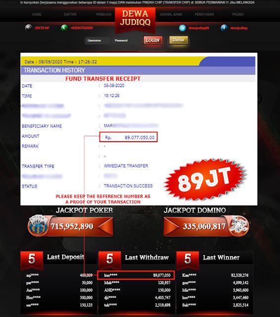 BUKTI TRANSFER DEWAJUDIQQ 89.077.050