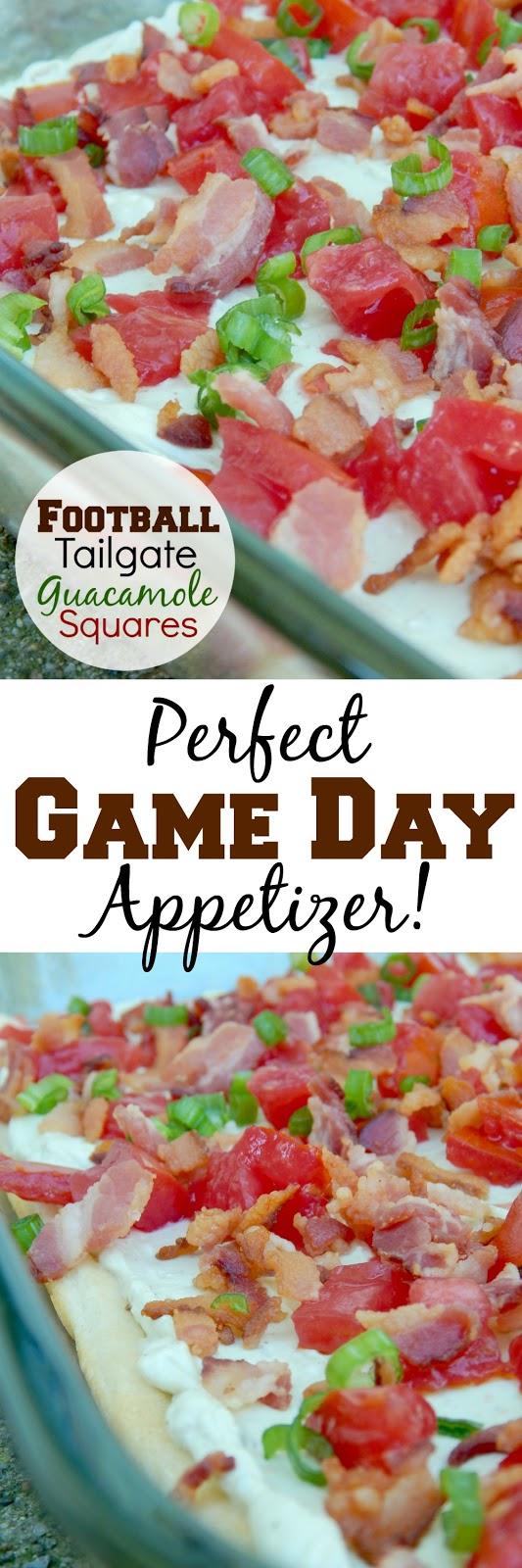 football tailgate guacamole squares (sweetandsavoryfood.com)