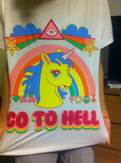 kids t-shirt with unicorn rainbow and stars go to hell