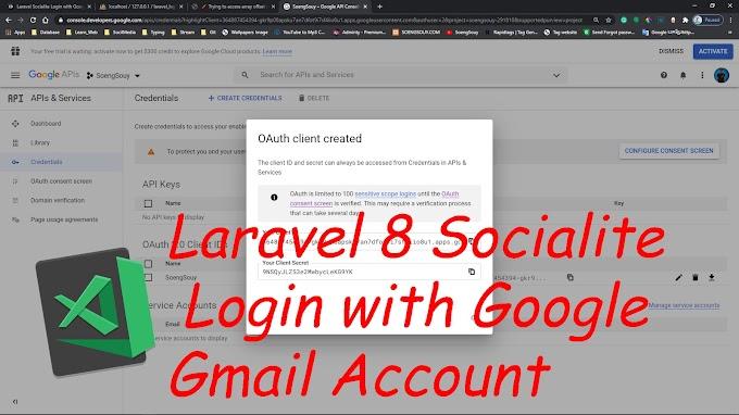 Laravel 8 Socialite Login with Google Gmail Account