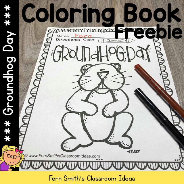 One FREE Groundhog Day Coloring Page for Your Classroom from Fern Smith's Classroom Ideas at TeacherspayTeachers, TpT.