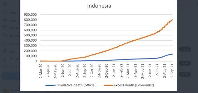 801.414 Adalah Angka Kematian Covid-19 RI yang Sebenarnya Versi The Economist