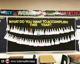 """Who doesn't love free? In this post are a bunch of free math bulletin board printables, from posters to math pennants that you can download for your classroom today. Ms. Tut displayed her students' matholution pennants on a black bulletin board background with the words """"What Do You Want to Accomplish This Year?"""""""