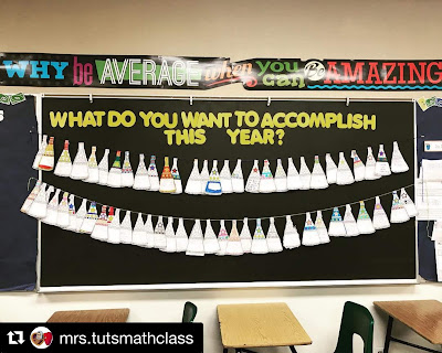 "Who doesn't love free? In this post are a bunch of free math bulletin board printables, from posters to math pennants that you can download for your classroom today. Ms. Tut displayed her students' matholution pennants on a black bulletin board background with the words ""What Do You Want to Accomplish This Year?"""