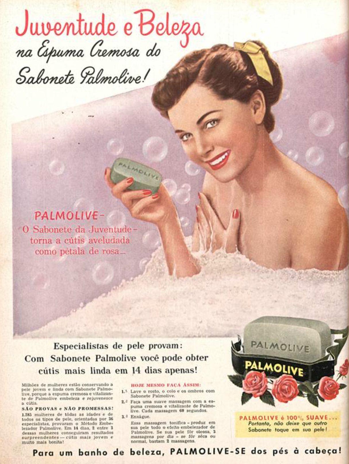 Anúncio da Palmolive em 1956 apresentando benefícios do seu sabonete