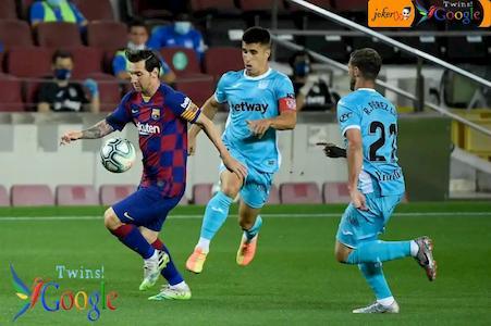 نهاية الشوط الأول مباراة برشلونة وليجانيس