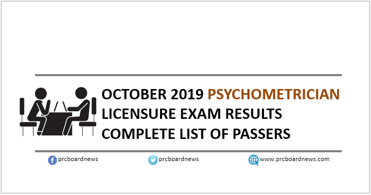 RESULT: October 2019 Psychometrician board exam list of passers