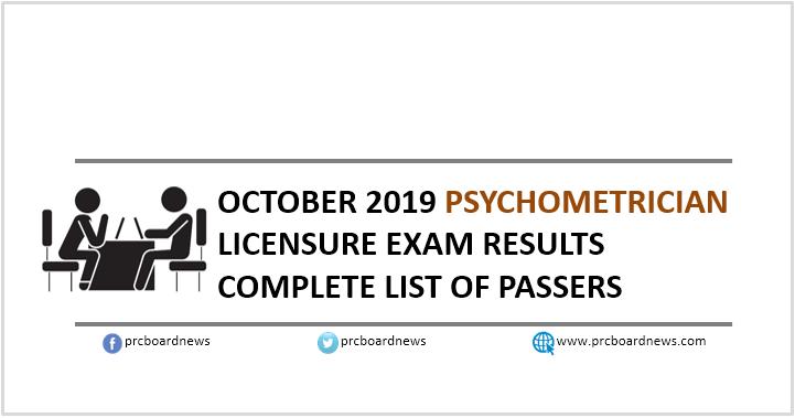 RESULT: October 2019 Psychometrician board exam list of passers