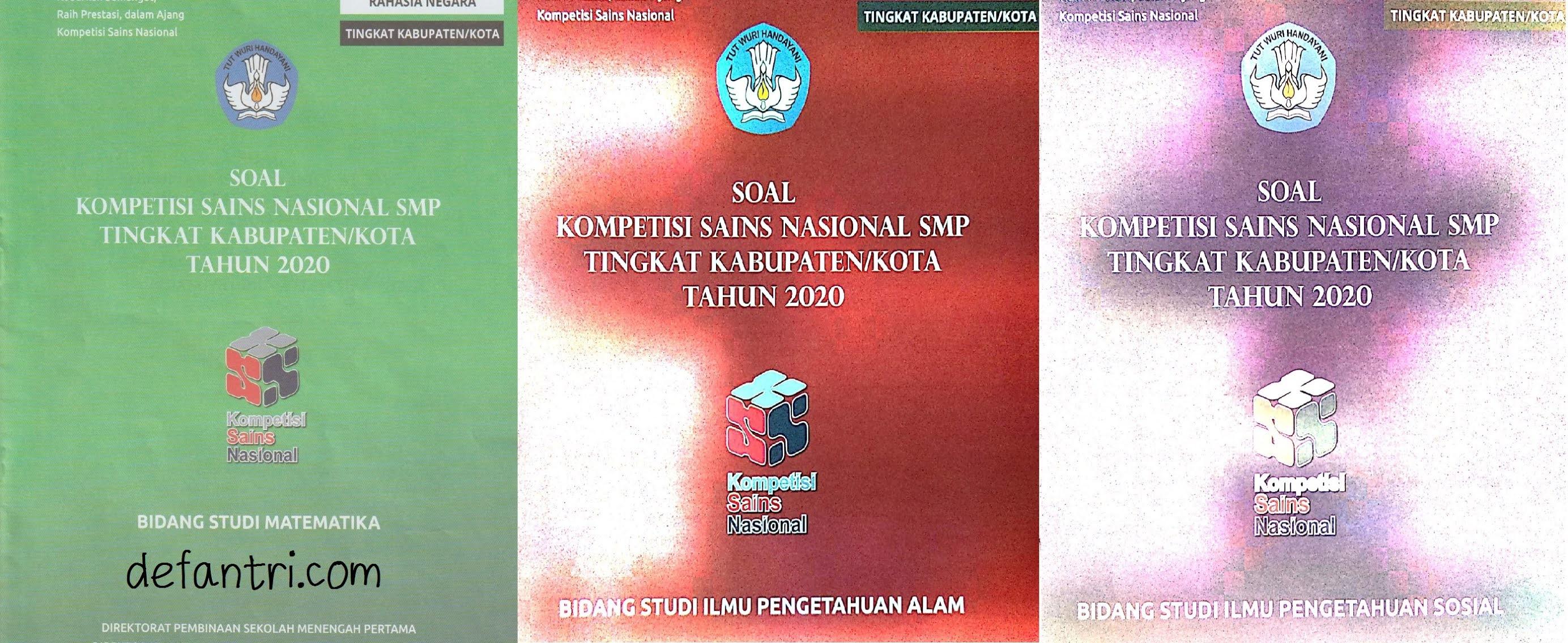 Download Soal Asli Kompetisi Sains Nasional Tingkat Kabupaten-Kota Tahun 2020 Untuk SMP Mata Pelajaran Matematika, IPA dan IPS
