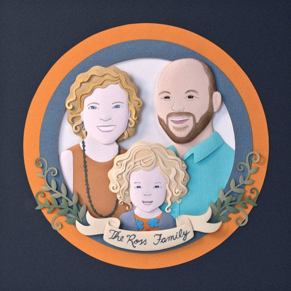 custom paper cut portrait features a couple with child