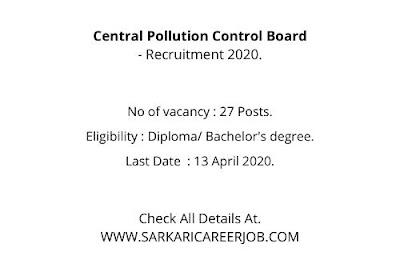 CPCB Vacancy 2020 | 27 Posts CPCB Job Requirements 2020.
