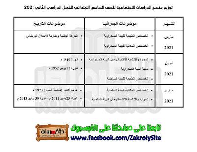 توزيع منهج الدراسات للصف السادس الابتدائي 2020