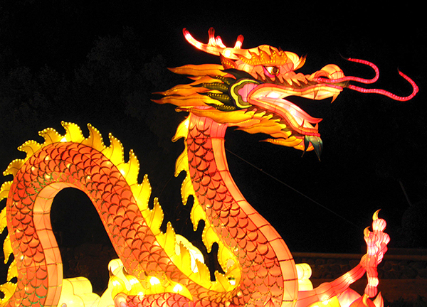 Red and Gold Dragon Illuminated Sculpture