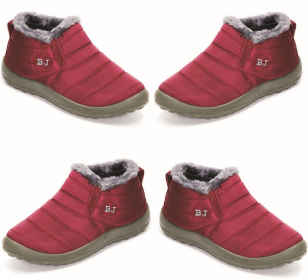 Ladies BJ Winter Boots - Flat Ankle Wool Lining Shoes