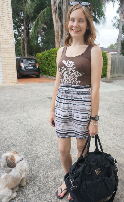 Brown tank striped gathered skirt marc by marc jacobs baby bag stay at home mum coffee date outfit