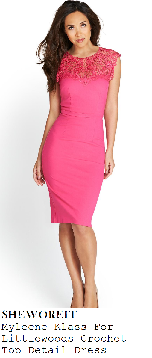 myleene-klass-candy-pink-sleeveless-crochet-net-panel-pencil-dress-mothercare