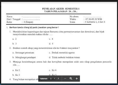 Soal PAS Tema 5 Kelas 4 Semester 1