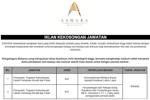 Jawatan Kosong di Akademi Seni Budaya & Warisan Kebangsaan (ASWARA)