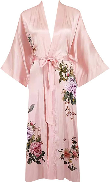 100% Silk Pink Robes For Women