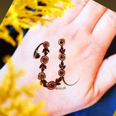 Special alphabet A to Z Dp written with Mehndi on hand Picture