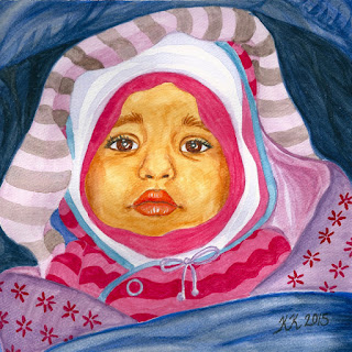 Baby portrait watercolor painting
