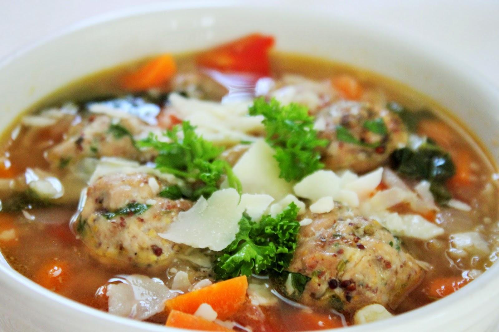 Turkey Meatball Italian Wedding Soup With Cauliflower Orzo Being