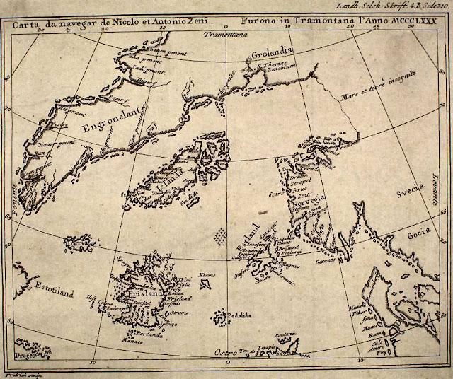 Reproducción del Mapa de Zeno de un libro de 1793.