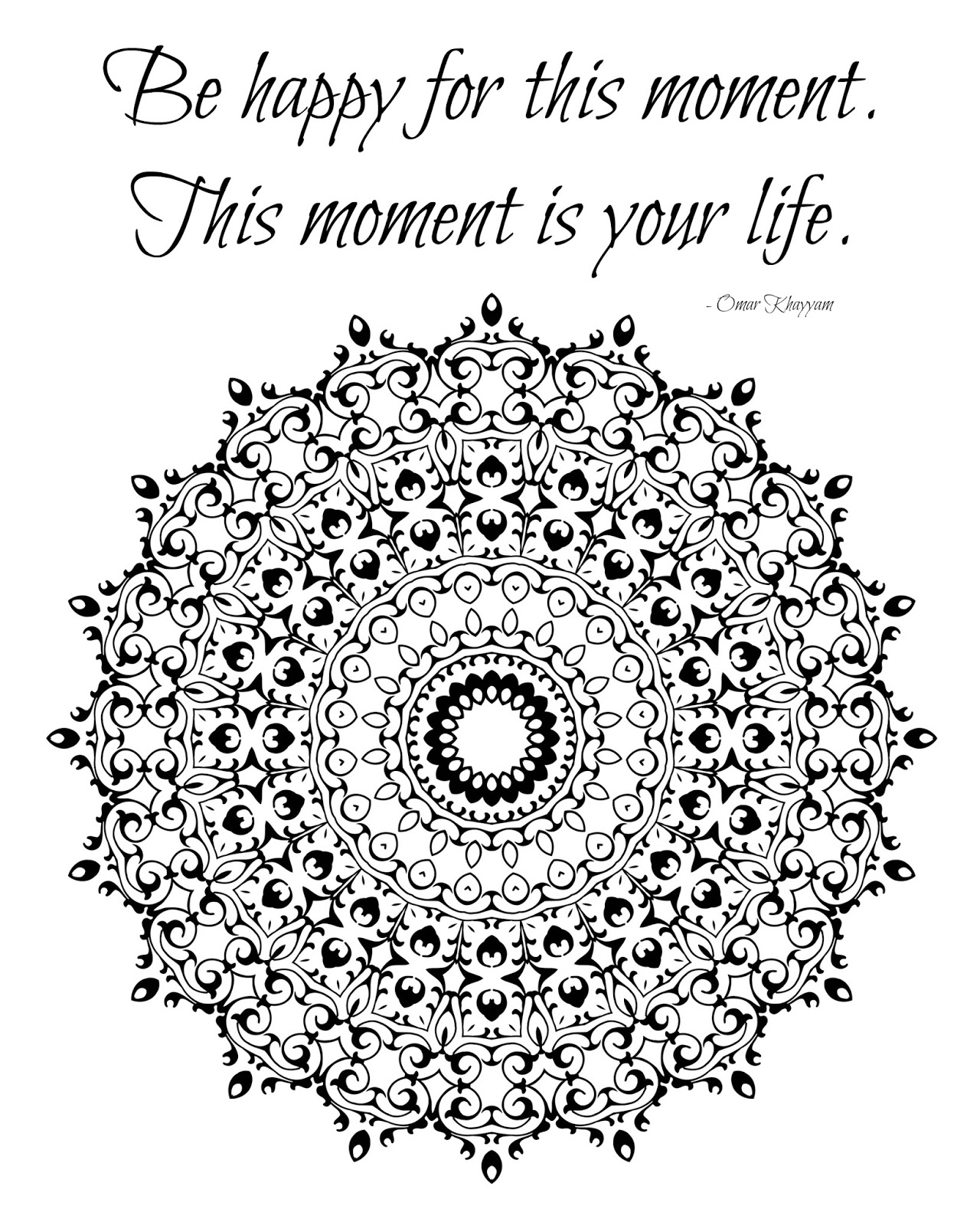 Inspirational Coloring Page Be Happy Quote
