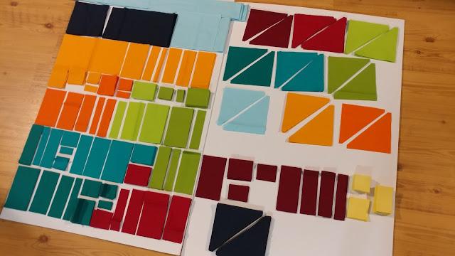 All fabric cut for custom Hillside Houses quilt