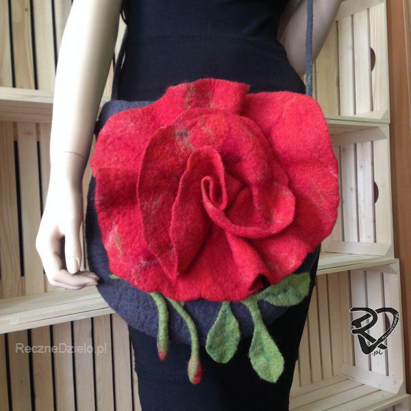 Torebka filcowa – Czerwona Róża