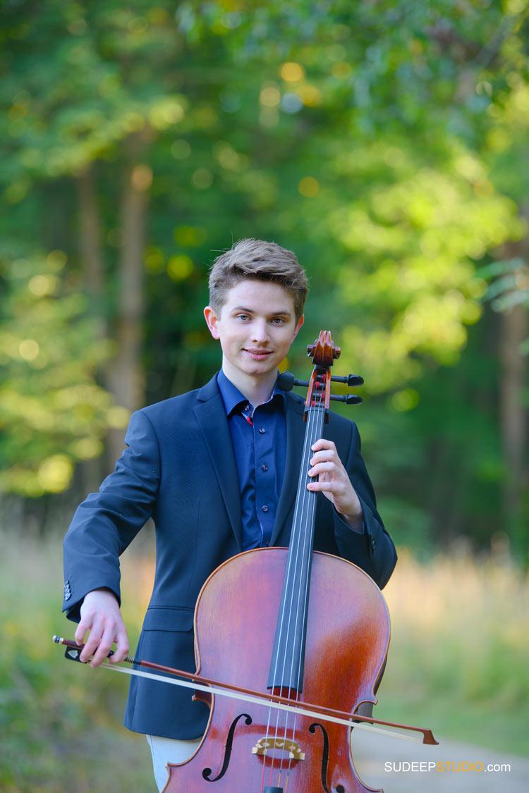 Huron High School Guys Senior Portraits with Musical Instrument Cello SudeepStudio.com Ann Arbor Senior Pictures Photographer