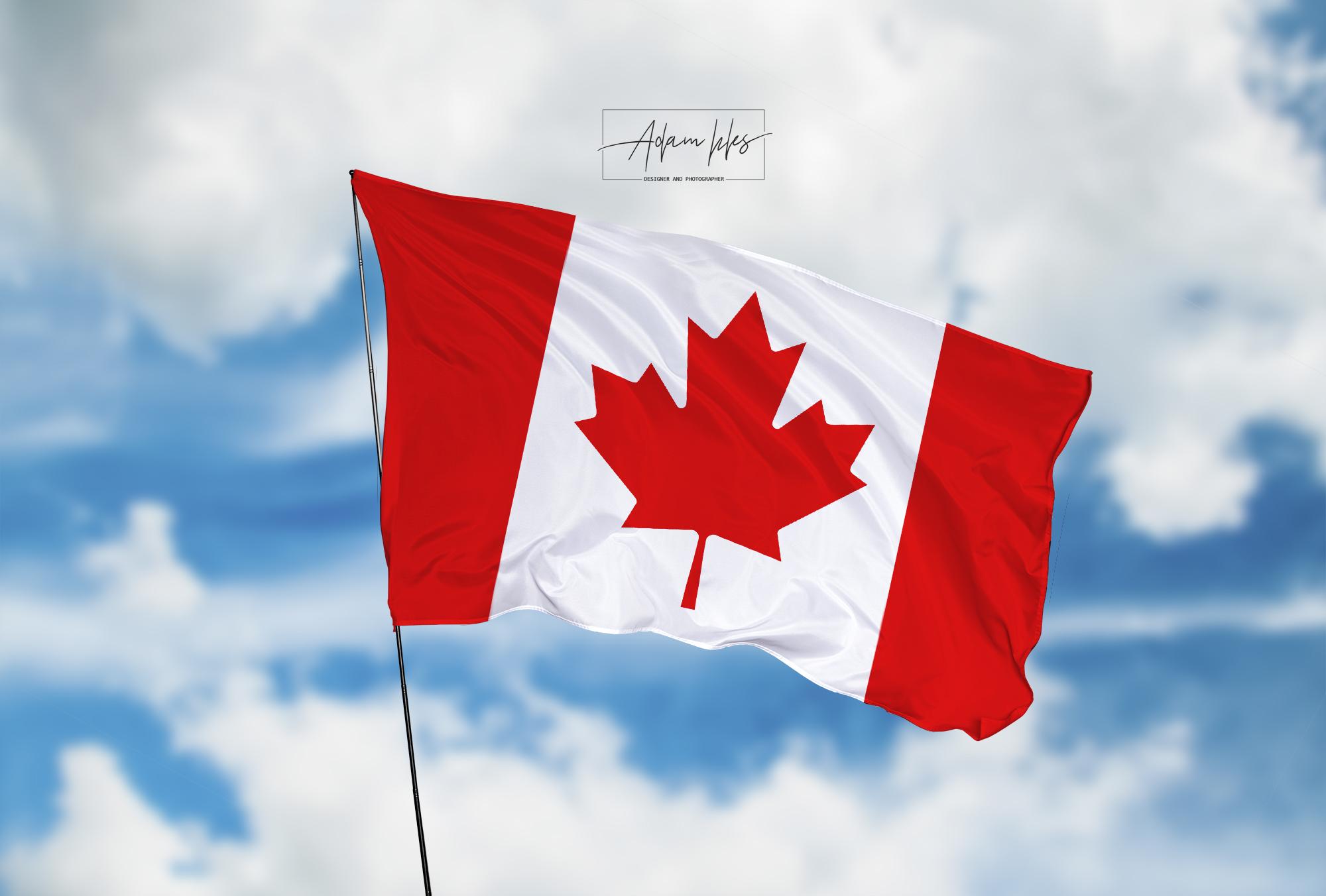 تحميل اجمل خلفية علم كندا يرفرف في السماء - اجمل خلفيات كندا الرائعة