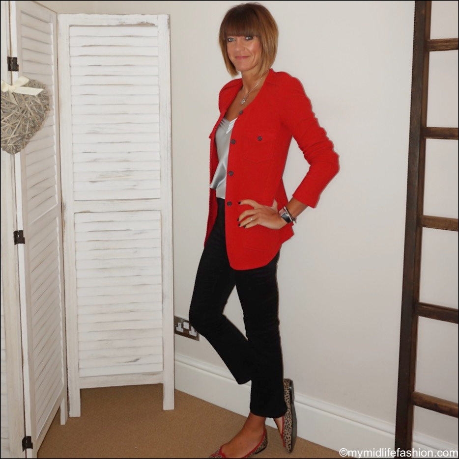 my midlife fashion, Isabel Marant Etoile felt jacket, Massimo dutti silk camisole, j crew cropped kick flare jeans, French sole India cheetah ballet pumps