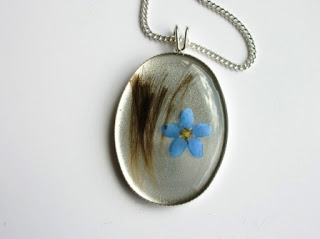 Sterling silver hair and forget me not pendant