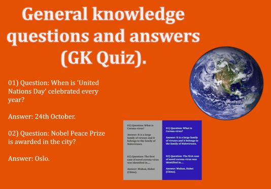 General knowledge questions and answers (GK Quiz).