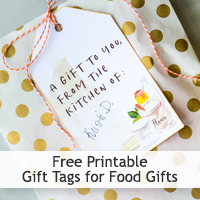 Free Printable Gift Tags for Food Gifts