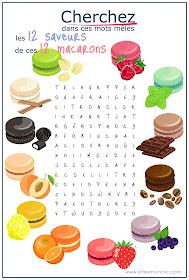 pasatiempos para niños en francés sopa de letras les macarons