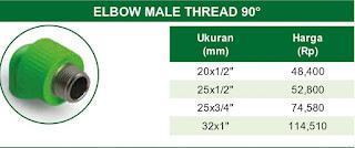 Harga ELBOW MALE THREAD 90° Pipa Ppr Rucika Kelen Green