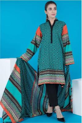 warda winter ferozi 3 piece khaddar with printed suit