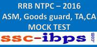 Railway Ntpc Exam (ASM, Goods Guard, TA, CA) - 2016 :: Mock Test - 3