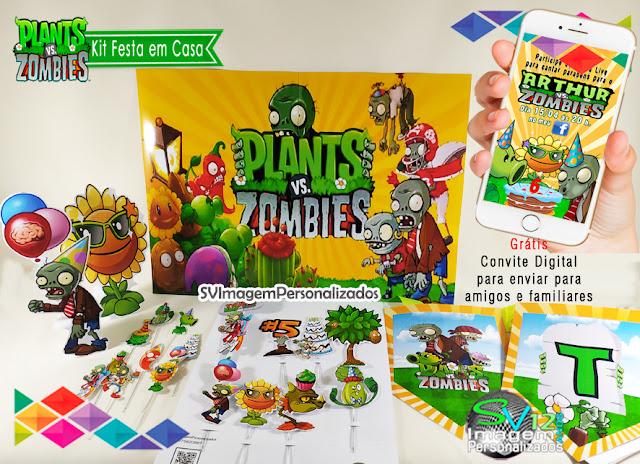 kit festa em casa Plants vs Zombie dicas e ideias para festa  personalizadas Monte seu kit Guloseimas