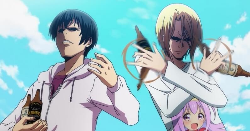 iori and kouhei holding on their drinks of grand blue
