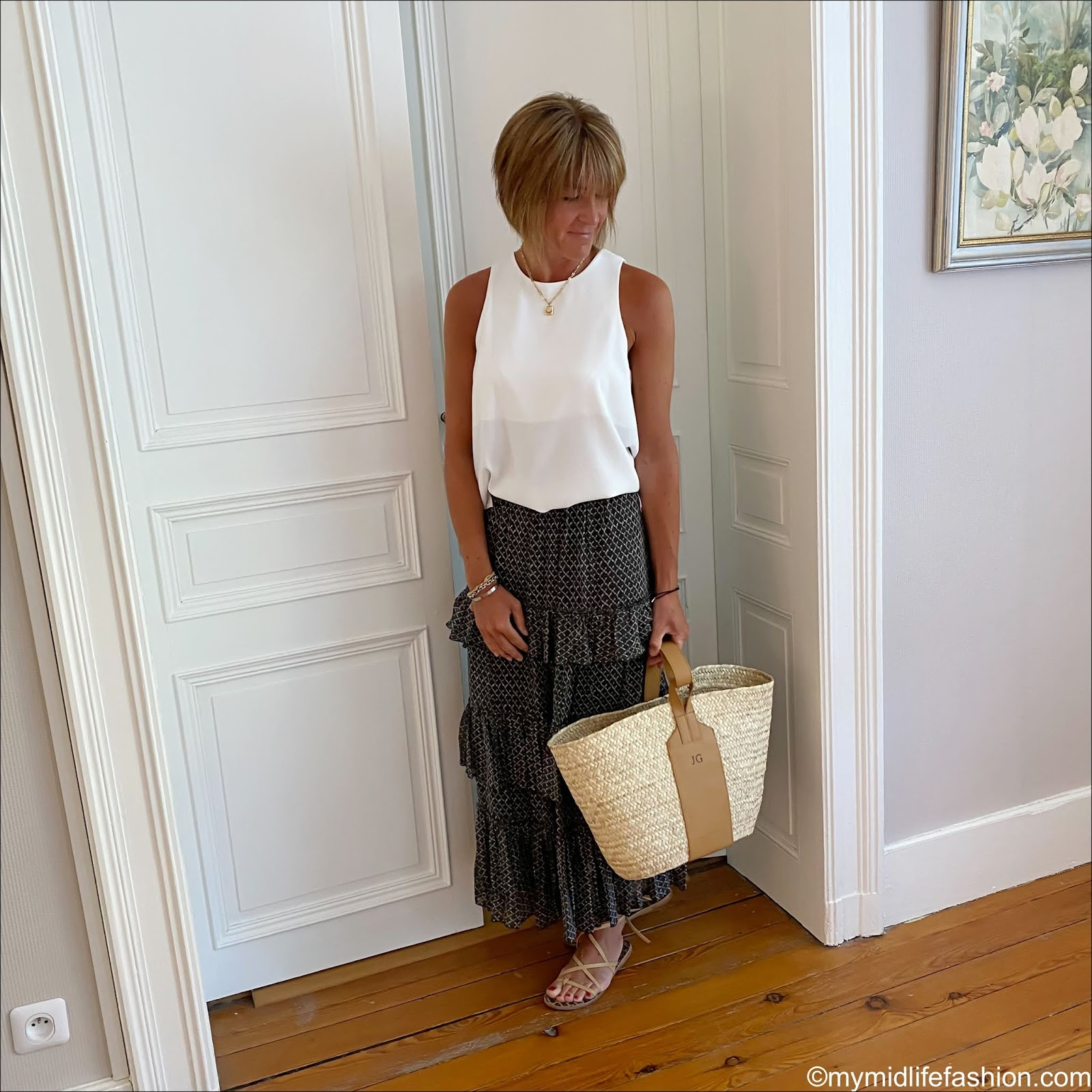 my midlife fashion, marks and Spencer knitted sleeveless top, rae feather monogram grace basket, Isabel Marant Etoile tiered maxi skirt, Ancient Greek wrap around sandals