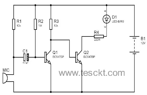 Clap switch using bc547