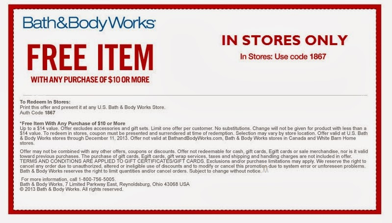 Coupon: Bath and Body Works ~ Free $14 00 item with $10 00