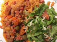 Rice and Spam-Beans-Salad