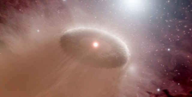 Artist's impression of an evaporating protoplanetary disc. Image:NASA/JPL-Caltech/T. Pyle (SSC)